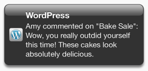 Example of a comment Push Notification from the WordPress for iOS app