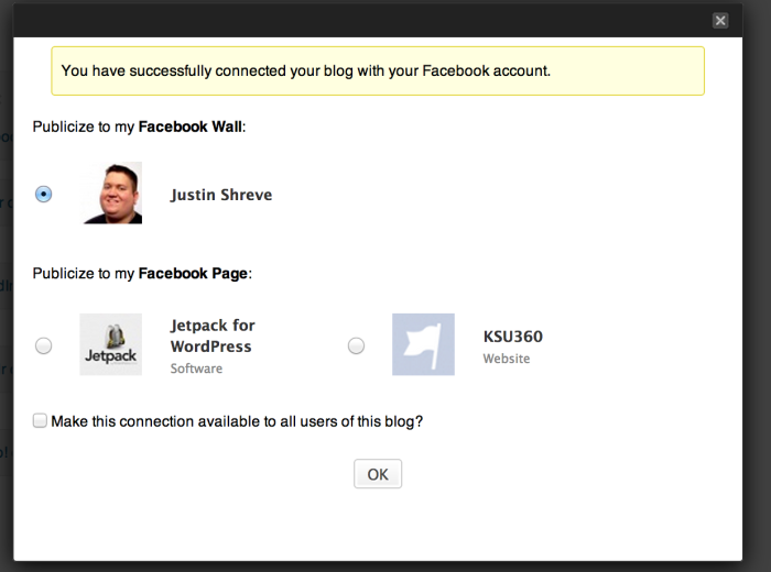 Choose whether you want to publish your posts on your personal profile, or on a Page you manage