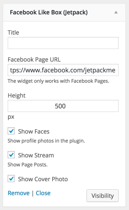 Facebook Like Box Widget options
