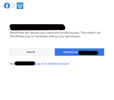 First step in Facebook connection