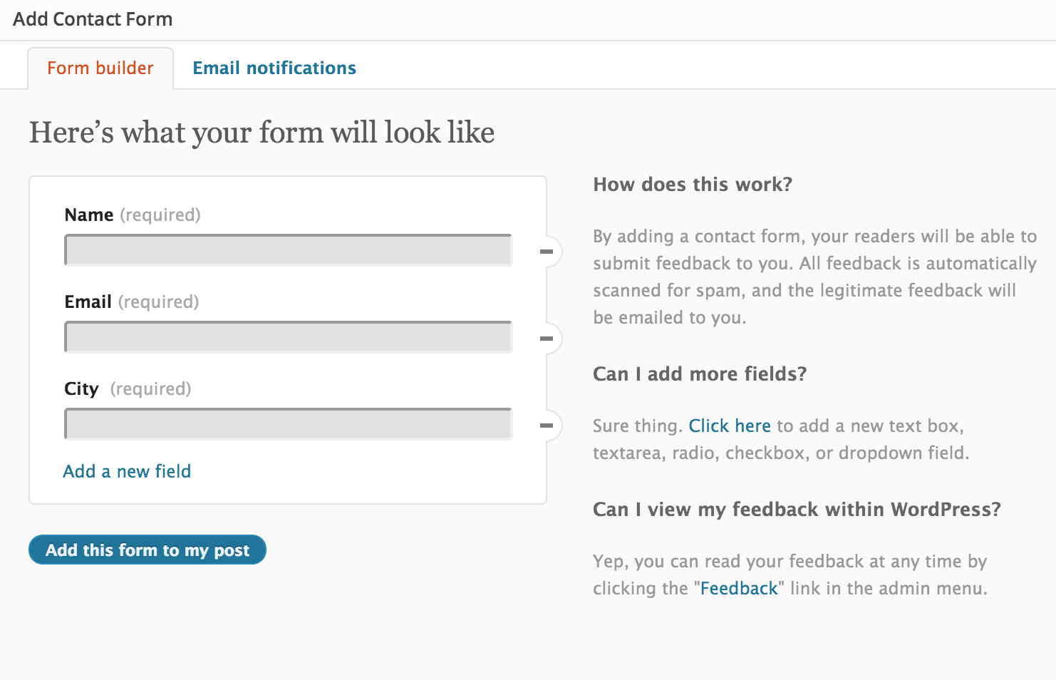 Form Builder Jetpack for WordPress – Official Change of Address Form