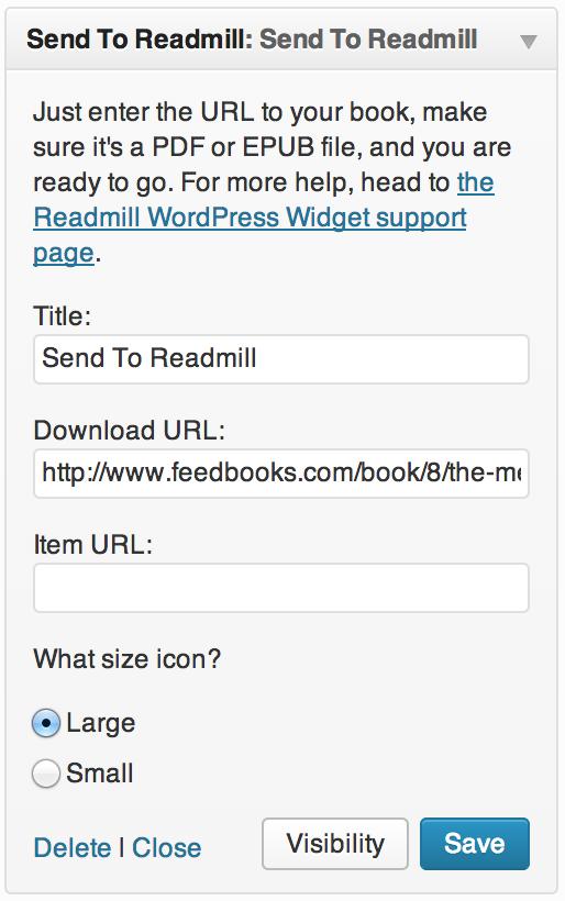 Readmill Widget settings