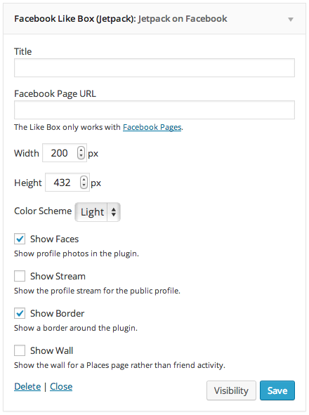Facebook Like Box Widget settings