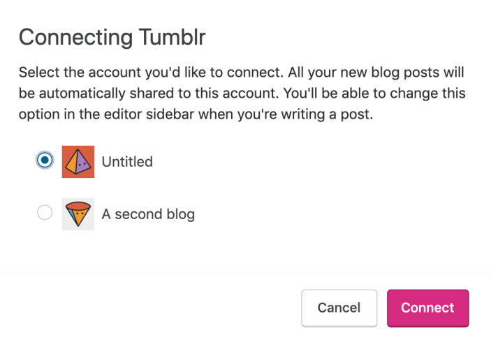 Tumblr choose blog option