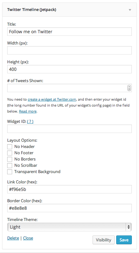 Twitter Widget Options