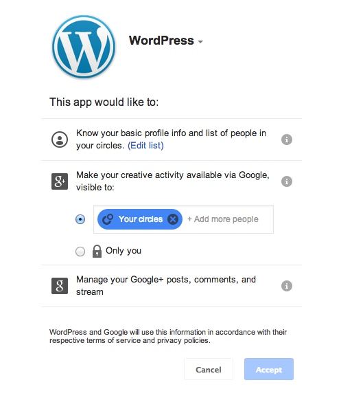 Connect your WordPress site to your Google+ account