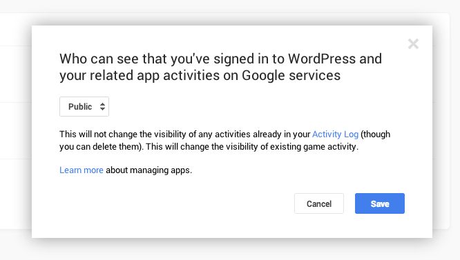 Google+ Publicize settings