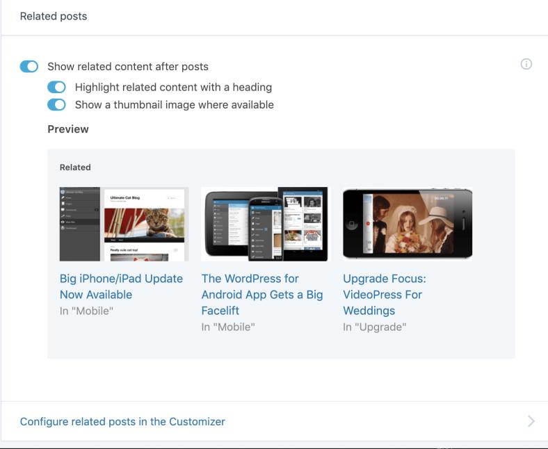 Jetpack WordPress Plugin Configure Related Posts