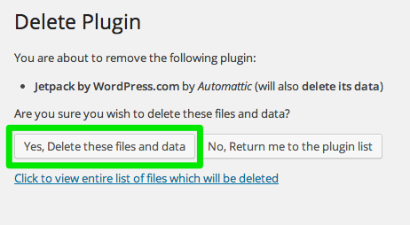 Delete plugin confirmation