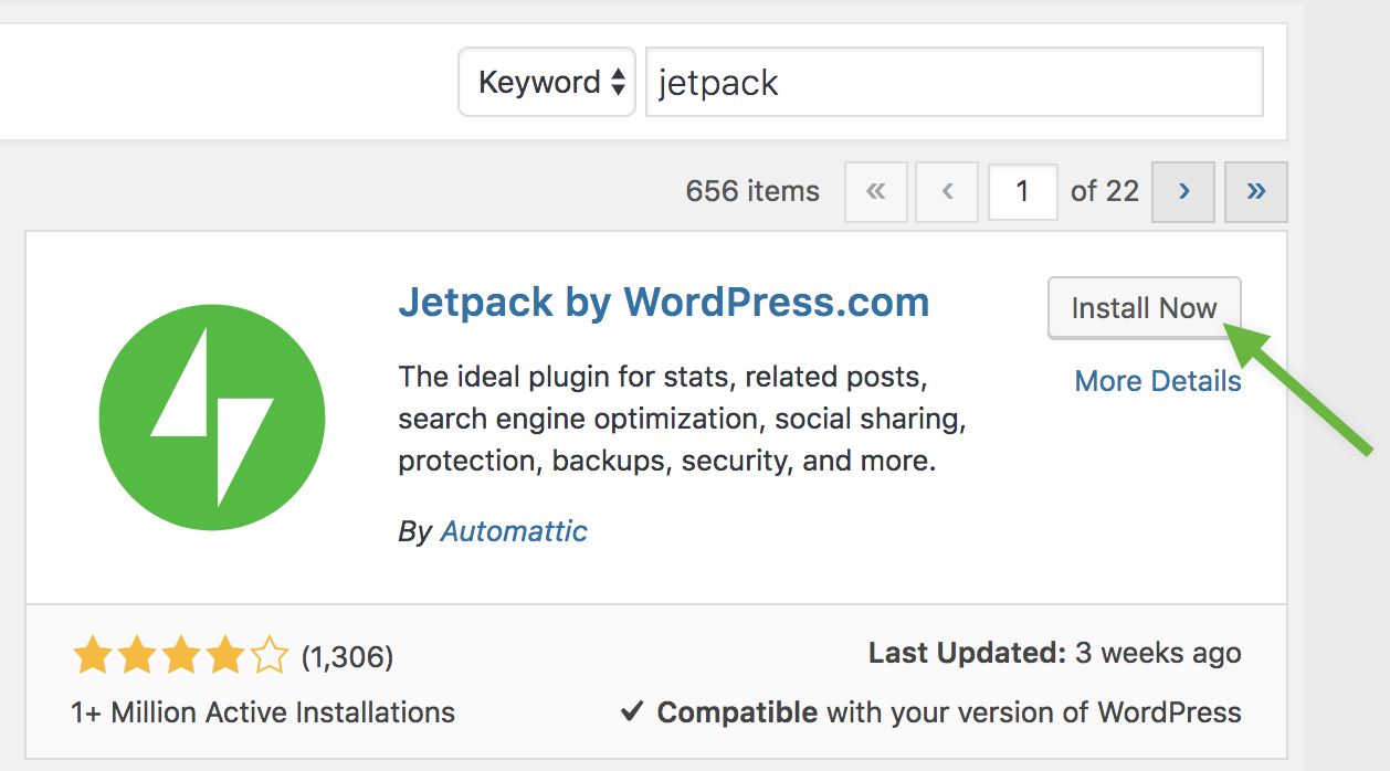 Installing the Jetpack plugin