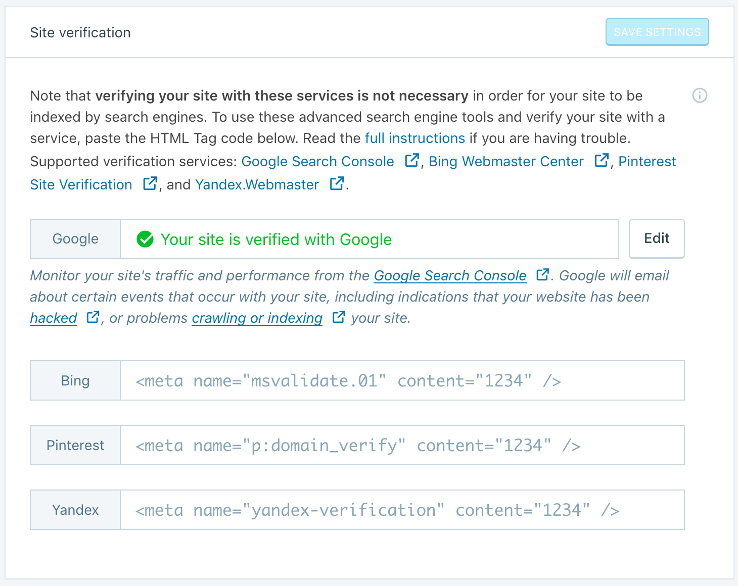 Site Verification Tools