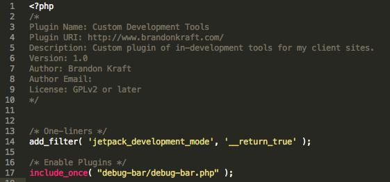 Screenshot of the code for a sample development plugin