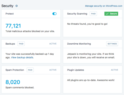 Jetpack Security Features