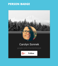 Person badge using the portrait layout and the dark theme.