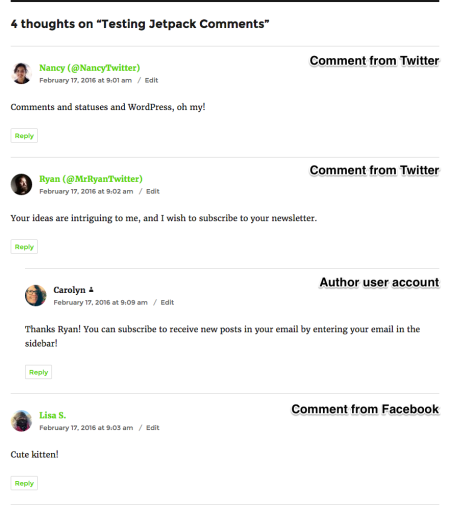Social media comments will display inline with other comments