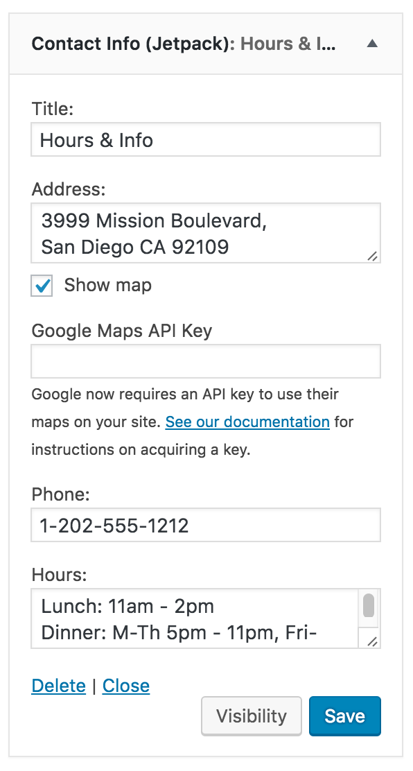 Show a map in the Contact Info Widget