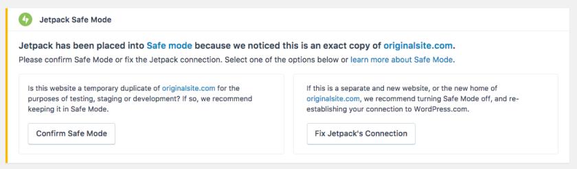 Jetpack Safe Mode box asking to confirm safe mode or fix the Jetpack connection