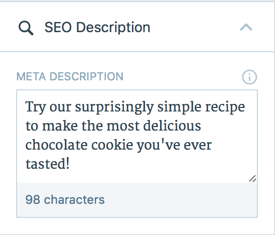 descriptionto customize the description expand the seo description dropdown in the post editor sidebar and then enter the custom description you would like to use