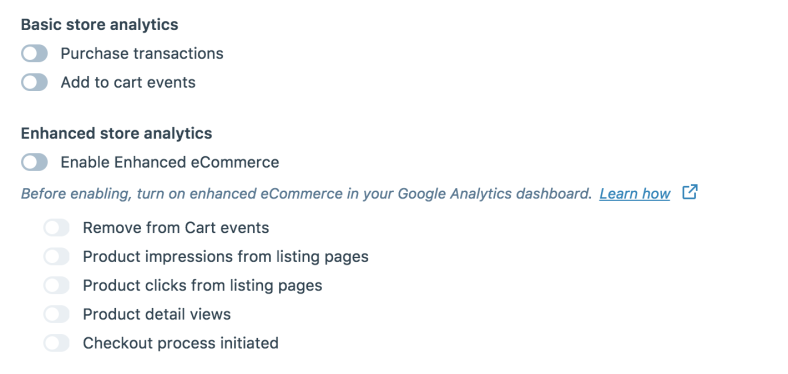 enhanced google analytics feature options