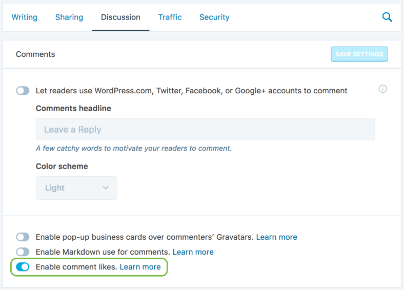 Jetpack Discussion settings, showing the toggle to enable comment likes.