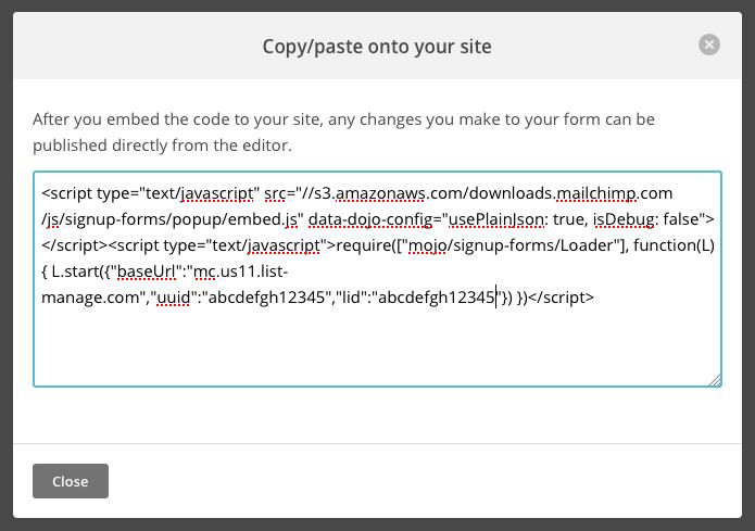MailChimp Subscriber Popup Widget