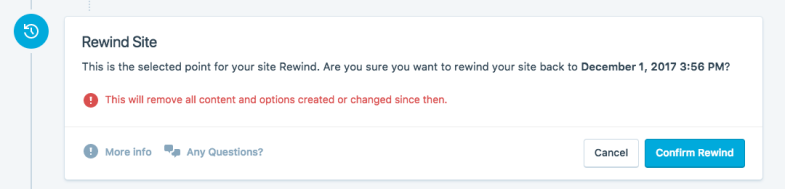 rewind site dialog box