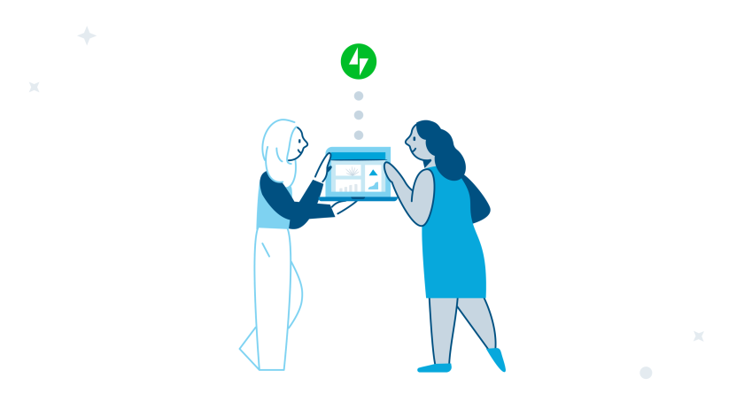 Illustration of two people talking about a website