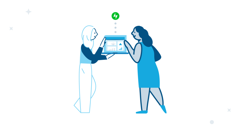 an illustration of two people having a conversation about a website