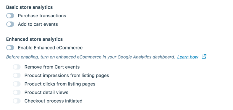 nable these ecommerce settings in Jetpack to hook into Google Analytics and your online store