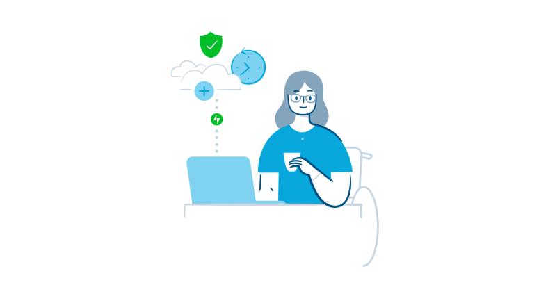 Bild einer Person, die am Computer sitzt