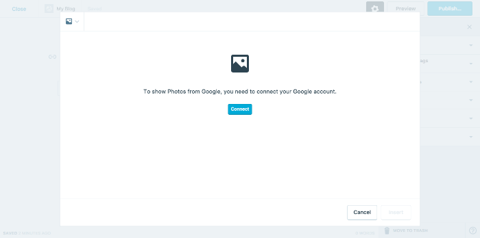 Connect WordPress Google Photos page