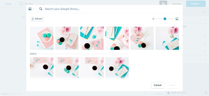 Google Photos added to WordPress media library