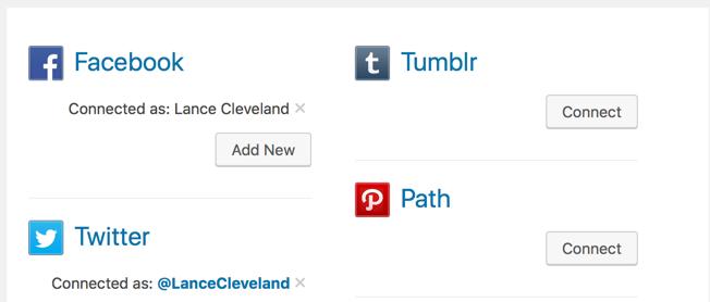 Publicize settings