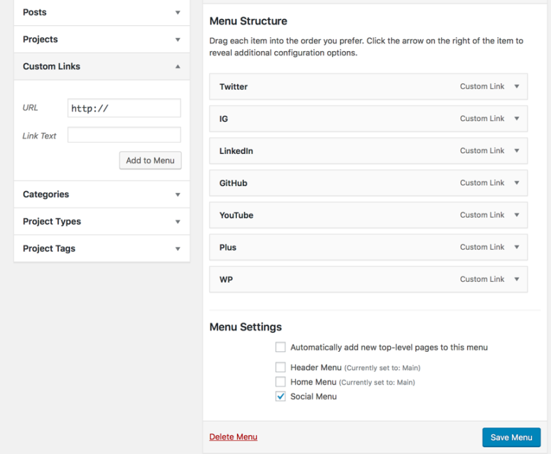 WordPress social menu settings
