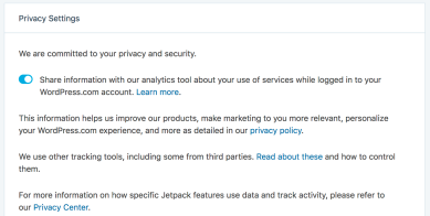 In Order To Opt Out Of This Tracking Click On The Privacy Link Footer Jetpack Page Within Your WordPress Dashboard And Toggle Following