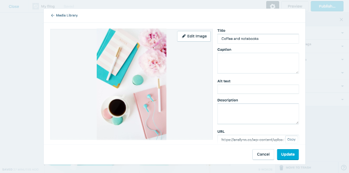 WordPress Default image settings fields