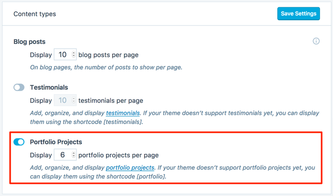 Displaying portfolio projects on your site