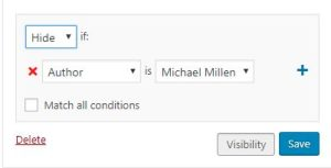 Using Widget Visibility settings with an author