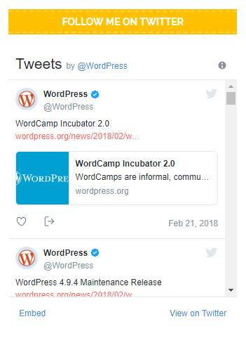 Embedded tweets on a WordPress site
