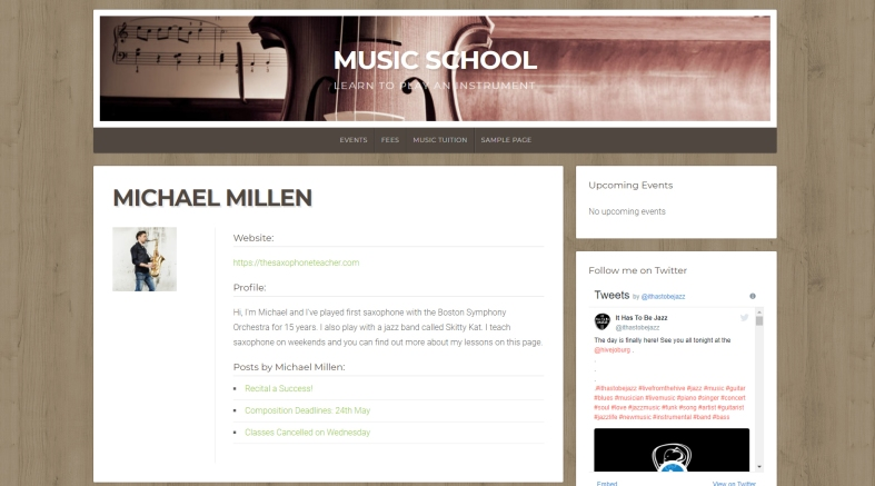 An author page on a premium WordPress theme