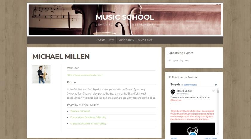Uma página de autor com um tema premium do WordPress