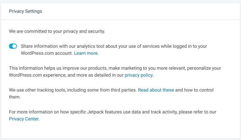 privacy opt-out settings in jetpack