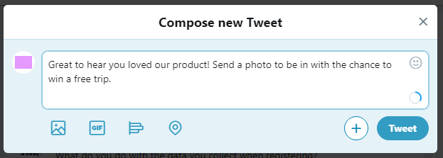 A tweet encouraging a customer to send a photo