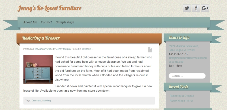 Blog post from Jenny's Re-Loved Furniture, before repurposing