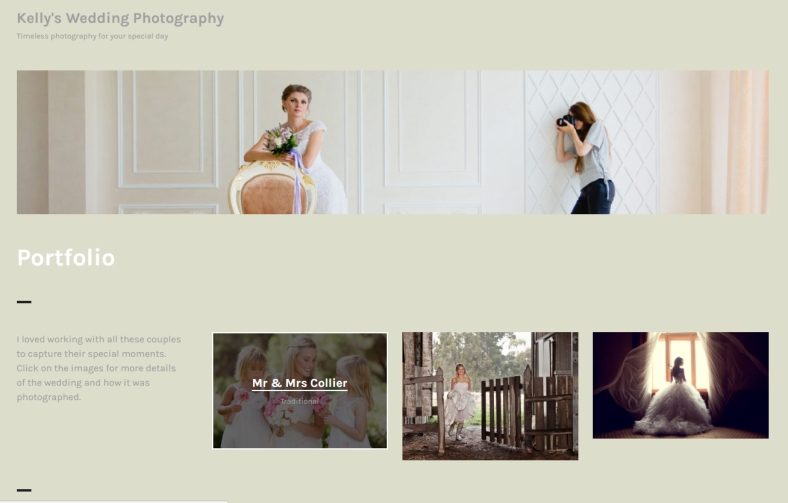 Portfolio page using Orvis theme customized to champagne color