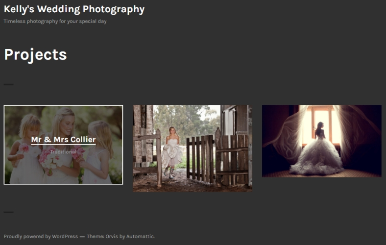 Portfolio page using Orvis theme and showing hover over style