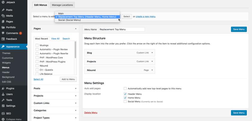 Screenshot your menus when updating your WordPress theme