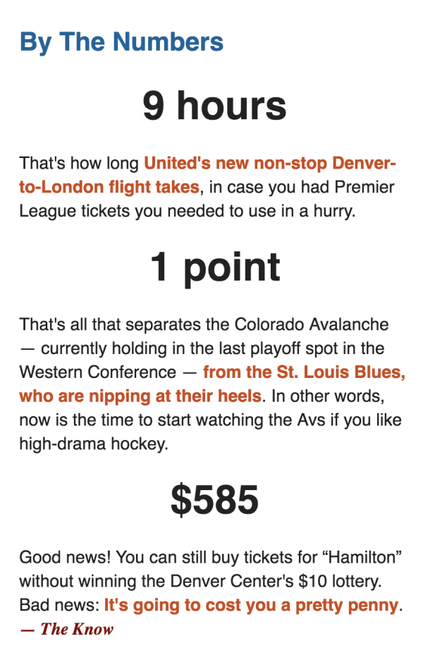Newsletter Content Example: The Denver Post