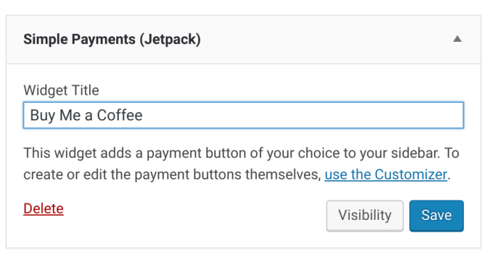 Setting up a payment widget with Jetpack