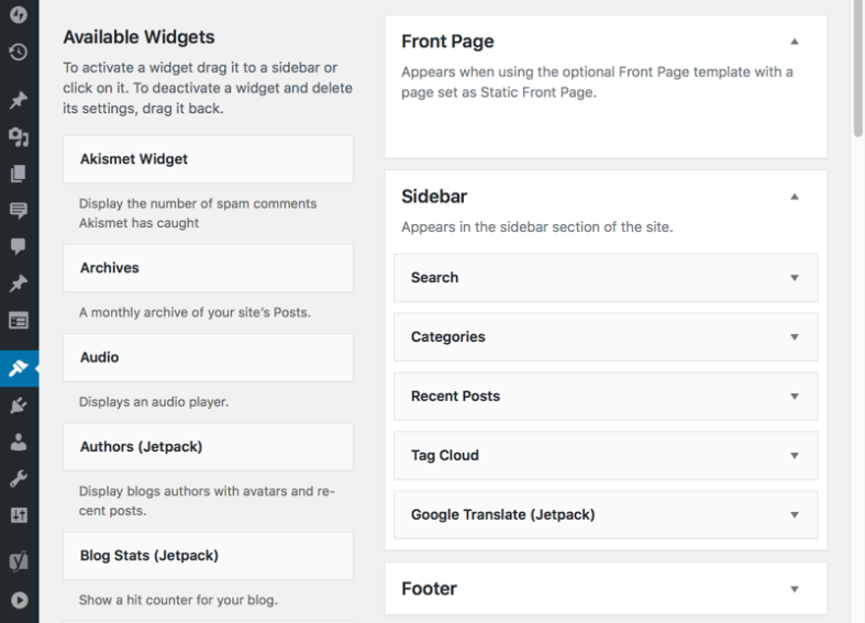 Screenshot your widget areas when updating your WordPress theme